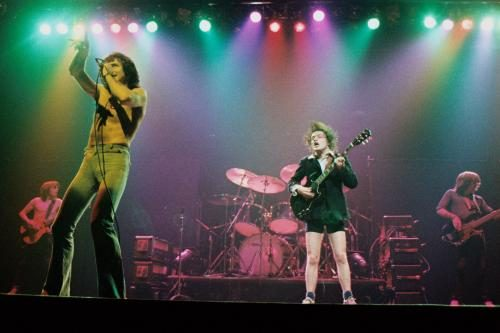Bon Scott and Angus Young on stage with AC/DC at the Coventry Theatre in November 1978.