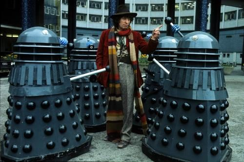 English actor Tom Baker in his role as the fourth incarnation of Doctor Who in the British science fiction television series of the same name