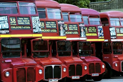 Routemaster buses lined up in Hackney Bus Garage