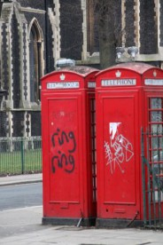 Iconic red London telephone boxes
