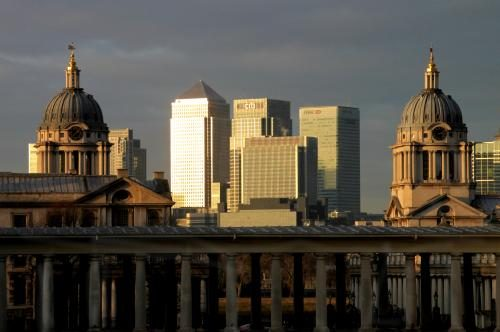 Canary Wharf photographed by Barbara Chandler through the Old Royal Naval College in Greenwich