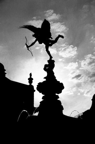 The Statue of Eros at Piccadilly Circus photographed in 1993 by Barbara Chandler Sonic Editions print