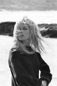Brigitte Bardot posing on the beach at North Berwick, Scotland, in a scene from the film 'Two Weeks in September', directed by Serge Bourguignon.