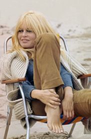 Brigitte Bardot takes a break while on set shooting 'Two Weeks in September'.
