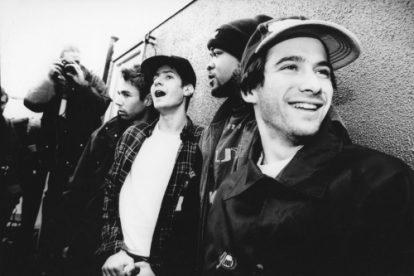 The Beastie Boys photographed after their set at Reading Festival.