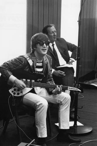 John Lennon during a Beatles recording session at the BBC studios