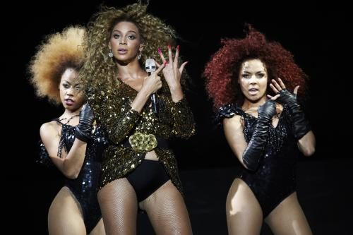 Beyonce headlines the Pyramid Stage at Glastonbury 2011.