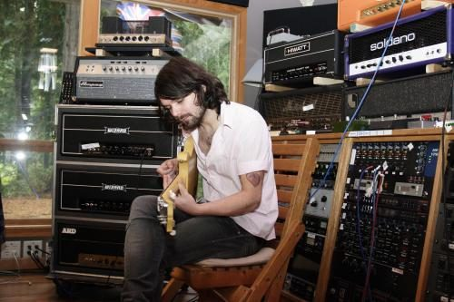 Simon Neil of Biffy Clyro in the studio during the recording of Puzzles