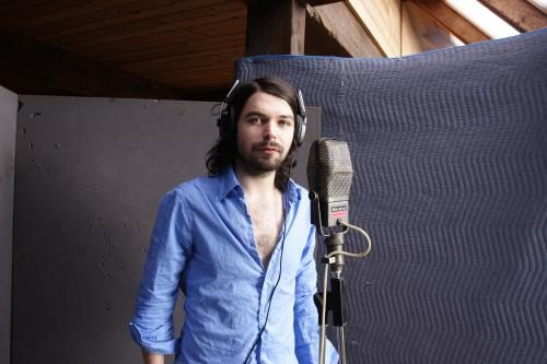 Simon Neil of Biffy Clyro in the studio during the recording of Puzzles.