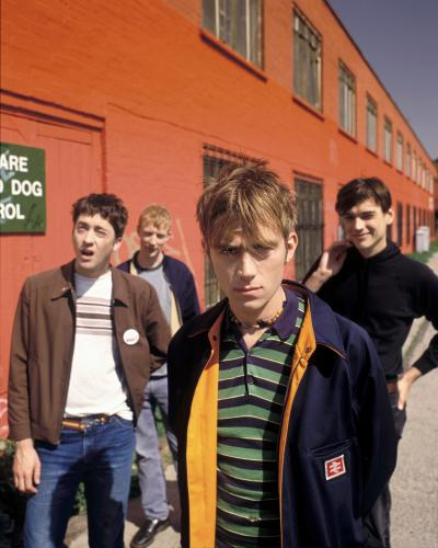 Blur photographed next to the Regents Canal in Islington 1996. Commissioned by Vox magazine.