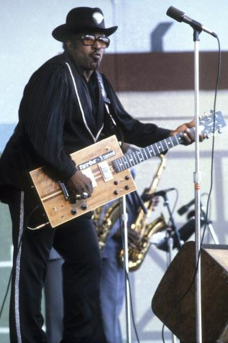 Bo Diddley photographed on stage in Monterey
