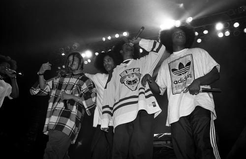 Rap group Bone Thugs N Harmony performing live. 1990.