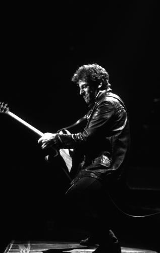 Rock musician Bruce Springsteen onstage at Cobo Hall.