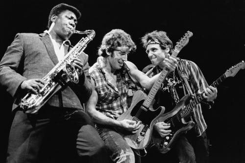 Bruce and The Boys photographed on stage in 1984.
