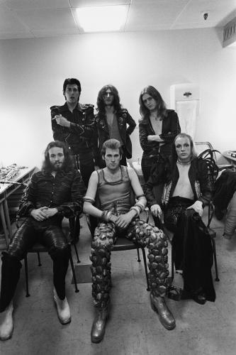 Roxy Music photographed backstage at a concert.