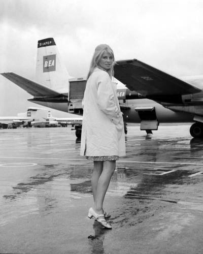 Julie Christie leaves London's Heathrow Airport for Spain where she is filming 'Dr Zhivago'.