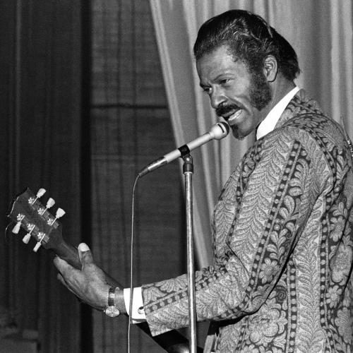 Chuck Berry photographed on stage in Detroit.