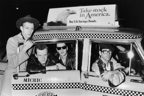 English punk band The Clash in a New York taxicab