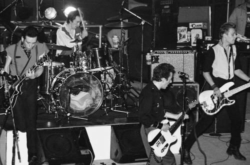Birmingham 6th February 1980 - The Clash returned to the Top Rank Suite in Birmingham. (L-R) Mick Jones