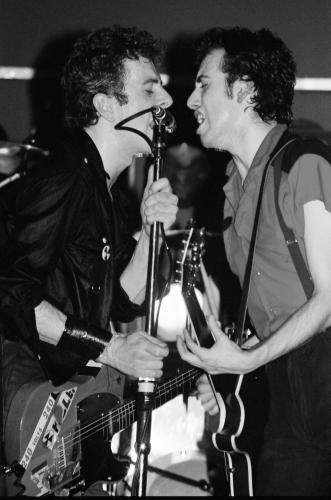 Birmingham 6th February 1980 - The Clash on stage at the Top Rank Suite in Birmingham (L-R) Joe Strummer and Mick Jones.