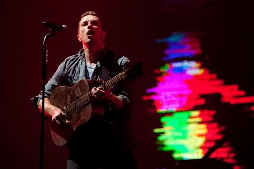 Chris Martin of Coldplay on stage at Glastonbury 2011.