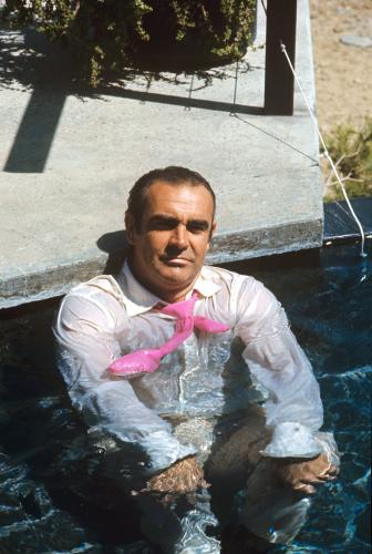 Sean Connery relaxing on the film set of 'Diamonds Are Forever'.