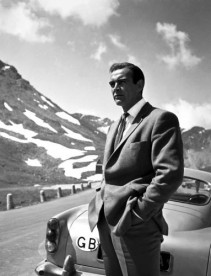 Sean Connery photographed during filming of the James Bond classic 'Goldfinger' in 1964.
