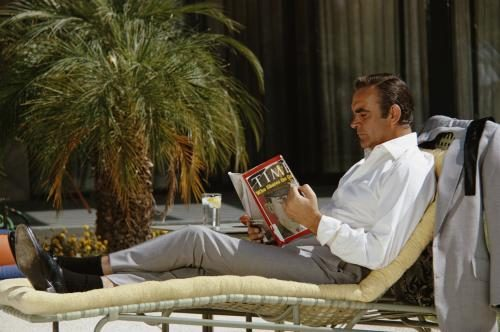 Sean Connery relaxes on the set of the James Bond film 'Diamonds Are Forever'