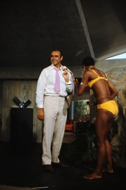 Actress Trina Parks as Thumper and Scottish actor Sean Connery on the set of the James Bond film 'Diamonds Are Forever'.