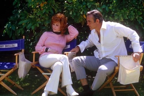 Sean Connery and Jill St. John relaxing on the film set of 'Diamonds Are Forever'.