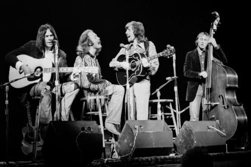Crosby Stills & Nash with Neil Young photgraphed on stage in Detroit