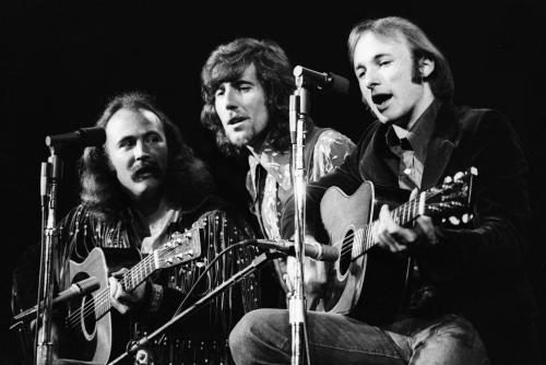 Crosby Stills & Nash photgraphed on stage in Detroit