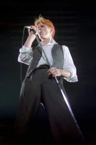 David Bowie performing on stage in Seattle.