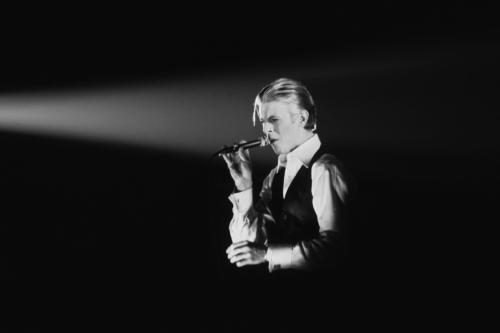 Musician David Bowie performs onstage in 1976 in Los Angeles