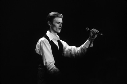 Musician David Bowie performs onstage at Olympia Stadium during the 'Station To Station' World Tour.