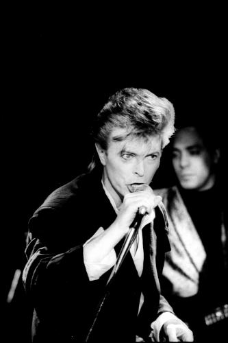 David Bowie live in London on the Glass Spider Tour at the Player's Theatre.