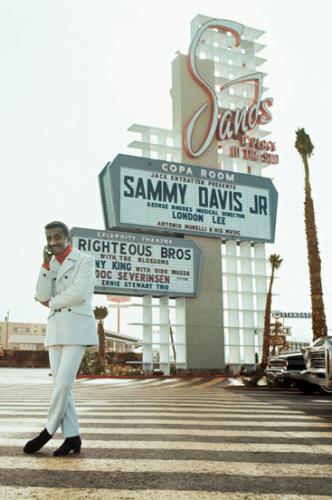 Sammy Davis Jr at the Sands; Las Vegas photographed by Milton Greene in 1967.