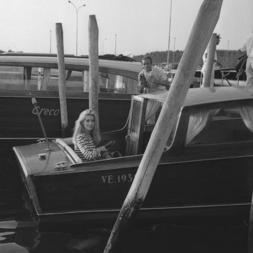 French actress Catherine Deneuve arriving in Venice in a water taxi