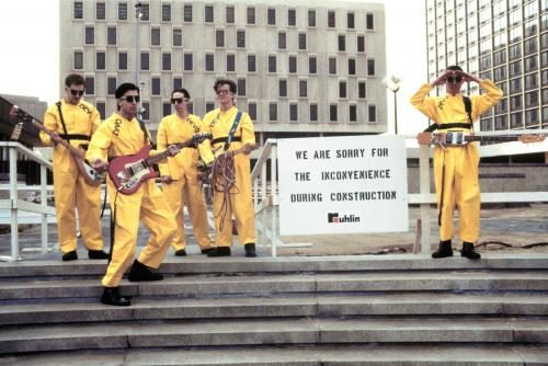 Devo photographed by Janet Macoska in 1978.
