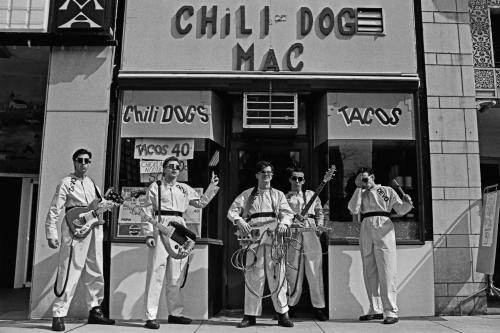 Devo at The Chili Dog Mac in Akron 1978.