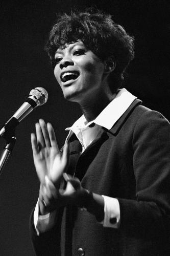 Dionne Warwick photographed on stage at Newport