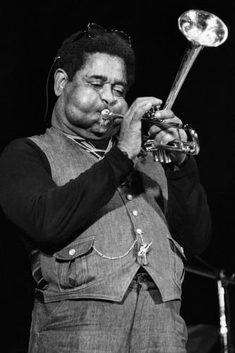 Dizzy Gillespie photographed on stage in San Francisco.