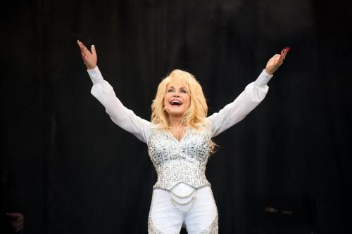 Dolly Parton performs on the Pyramid Stage on Day 3 of the Glastonbury Festival at Worthy Farm on June 29