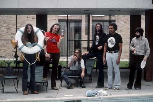 The Doobie Brothers pose for a portrait at their hotel before performing at Cobo Hall.