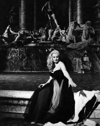 Anita Ekberg at the Trevi Fountain on the set of Fellini's La Dolce Vita