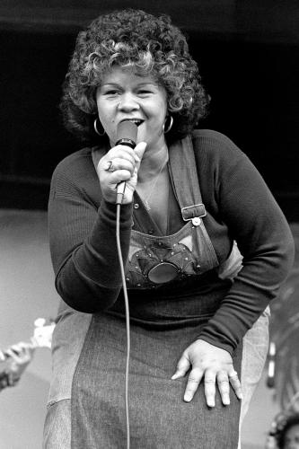 Etta James photographed on stage in Monterey.