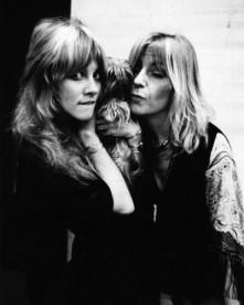 Stevie Nicks (holding dog) & Christine McVie in the recording studio