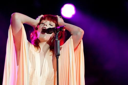 Florence Welch of 'Florence and the Machine' on stage at the Isle of Wight festival 2010.