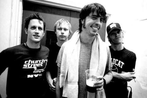 The Foo Fighters backstage at ULU London. Photographed by Andy Willsher for the NME 30th August 2002.
