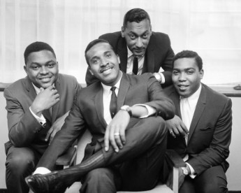 "The Four Tops at the Mount Royal Hotel, London. The Motown group is visiting Britain for the first time to promote their latest release, I Can't Help Myself (Sugar Pie, Honey Bunch). From left are Renaldo ""Obie"" Benson, Levi Stubbs Jr., Abdul ""Duke"" Fakir and Lawrence Payton."